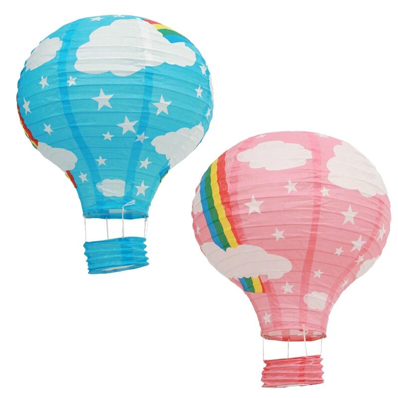 5 Pièces 12 Pouce 30 cm Arc-En-Ballons À Air Chaud Suspendus Des Lanternes En Papier Pour Le Mariage Douche Enfants De Fête D'anniversaire Décorations
