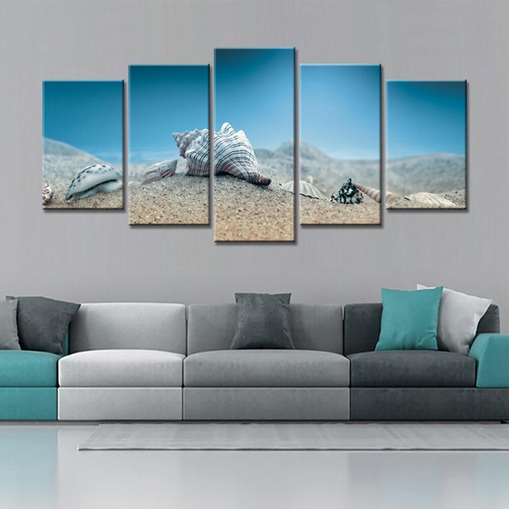 unidades para el hogar decorativo arte de la lona pinturas de colores concha naturaleza paisaje
