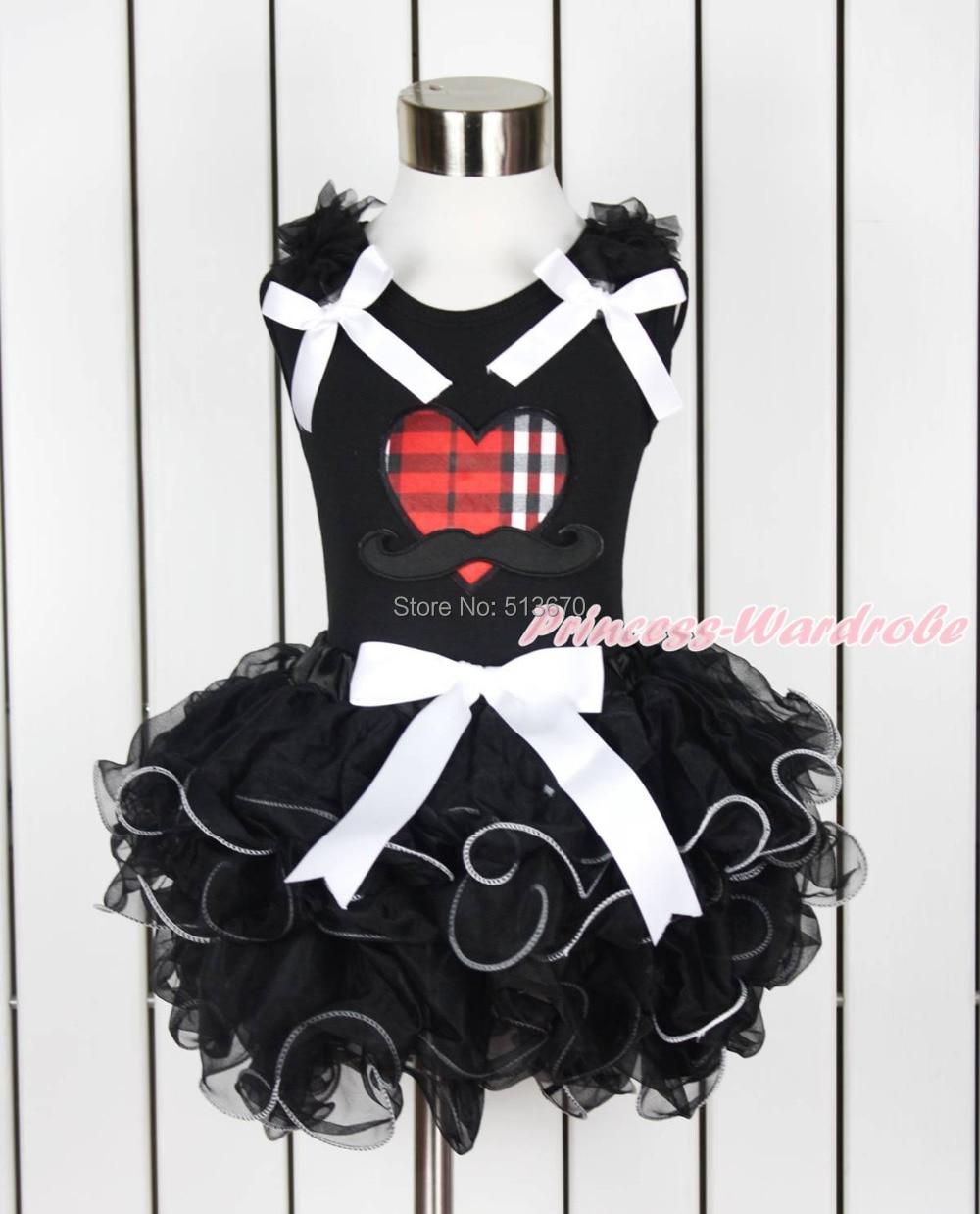 ФОТО Valentine Black Red Plaid Heart Mustache Black Top Black Petal Pettiskirt NB-8Y MAPSA0124