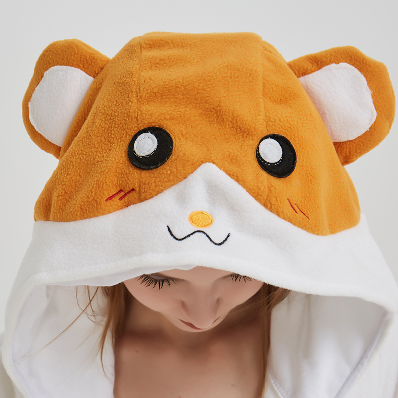 Cartoon Mouse Hamtaro Kigurumi Polar Fleece Cosplay Onesie Costume Animal Pajamas Halloween Carnival Masquerade Party Jumpsuit (1)