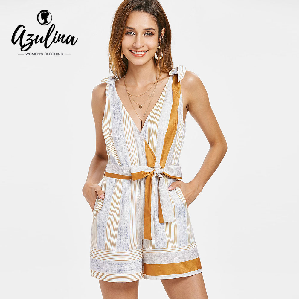 AZULINA Stripes Sleeveless Low Cut Belted Romper Women Jumpsuit Summer Plunging Neck Casual Playsuits Overalls Ladies Clothes
