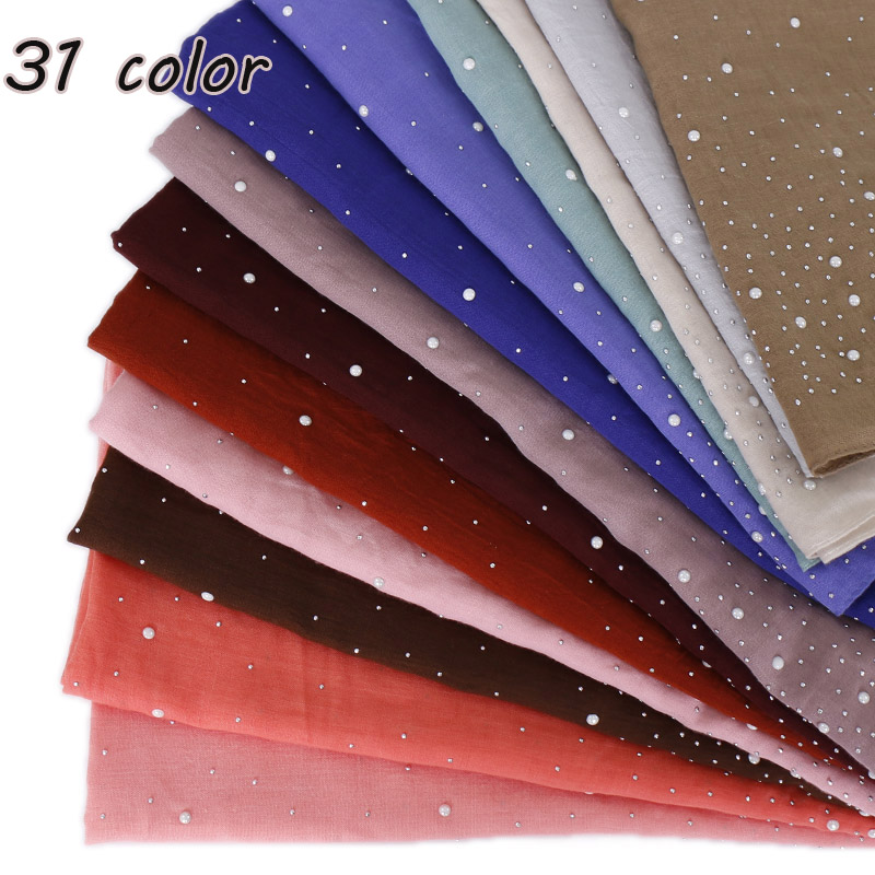Women s plain Iron beads scarf cotton scarves studs silver pearls scarves headband wrap muslim scarves