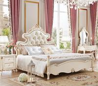 Популярные светло коричневый кожаный кровать Европейский комплект мебели вилла наборы мебели
