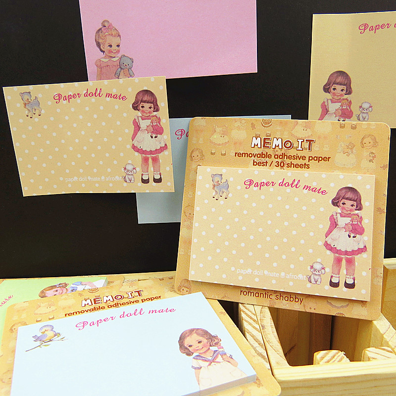 10 Pcs/Lot Cute Baby Doll Memo Pad And Sticky Notes Paper Stickers Planner Diary Office Accessories School Supplies DM651