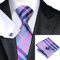 2016 Мода Темно-Серый Розовый Голубой Плед Галстук Носовой Платок Запонки 100% Шелк Галстук Галстуки Для Мужчин Деловых Свадьба С-467
