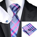 2016 Fashion Darkgray Pink Blue Plaid Tie Hanky Cufflinks 100% Silk Necktie Ties For Men Formal Business Wedding Party C-467