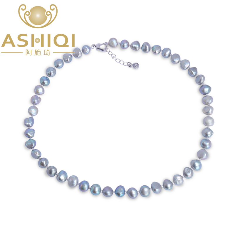 ASHIQI Black/Gray Baroque pearl Necklace 9-10mm Real Natural Freshwater pearl jewelry for women gift 5m 300pcs 3528 smd leds 36w 900lm non waterproof highlight decoration strip lamp rgb