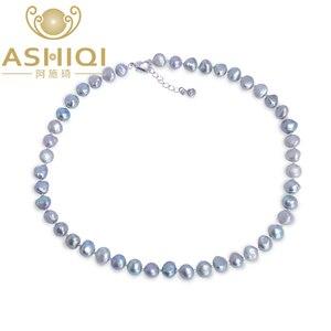 Auténtico ashiqi Natural Perla Barroca de agua dulce Collar para las mujeres de 9-10mm negro gris joyería de la perla