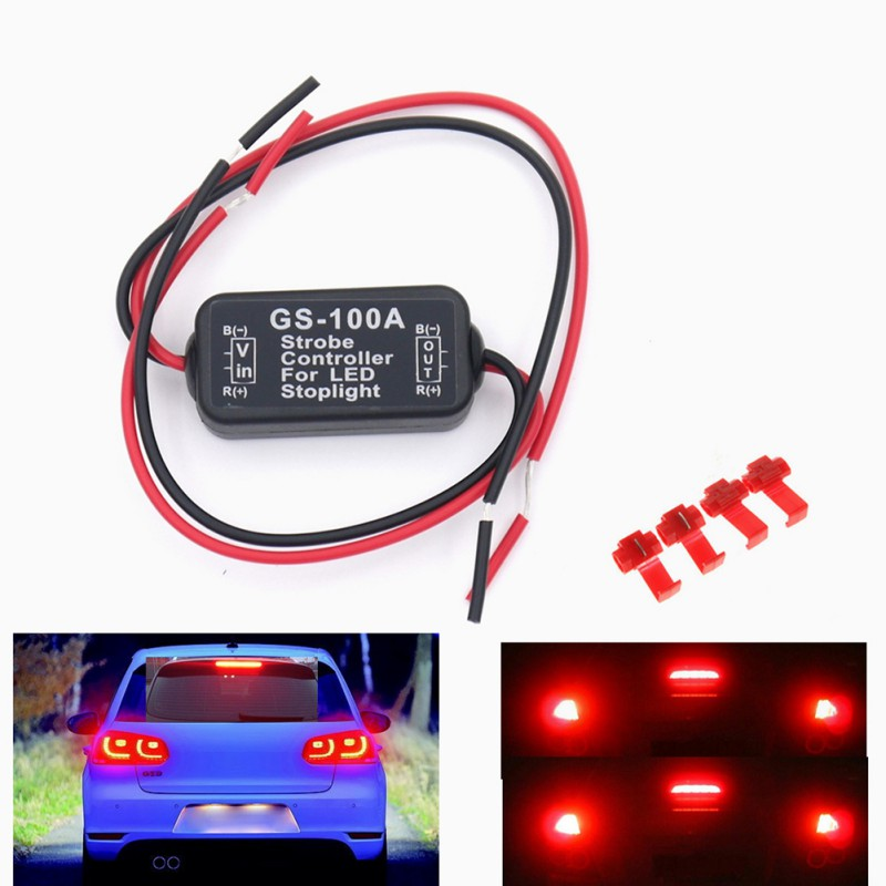 Auto Car 12V GS-100A LED High Position Brake Tail Stop Light Strobe Flash Flashing Controller Box LED Lights