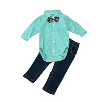 Casual Children Kid Boys GirlsToddler Kids Baby Outfits Tie Plaid Tops Shirt+Jeans Long Pants 1Set Fashion Cute High Quality P5