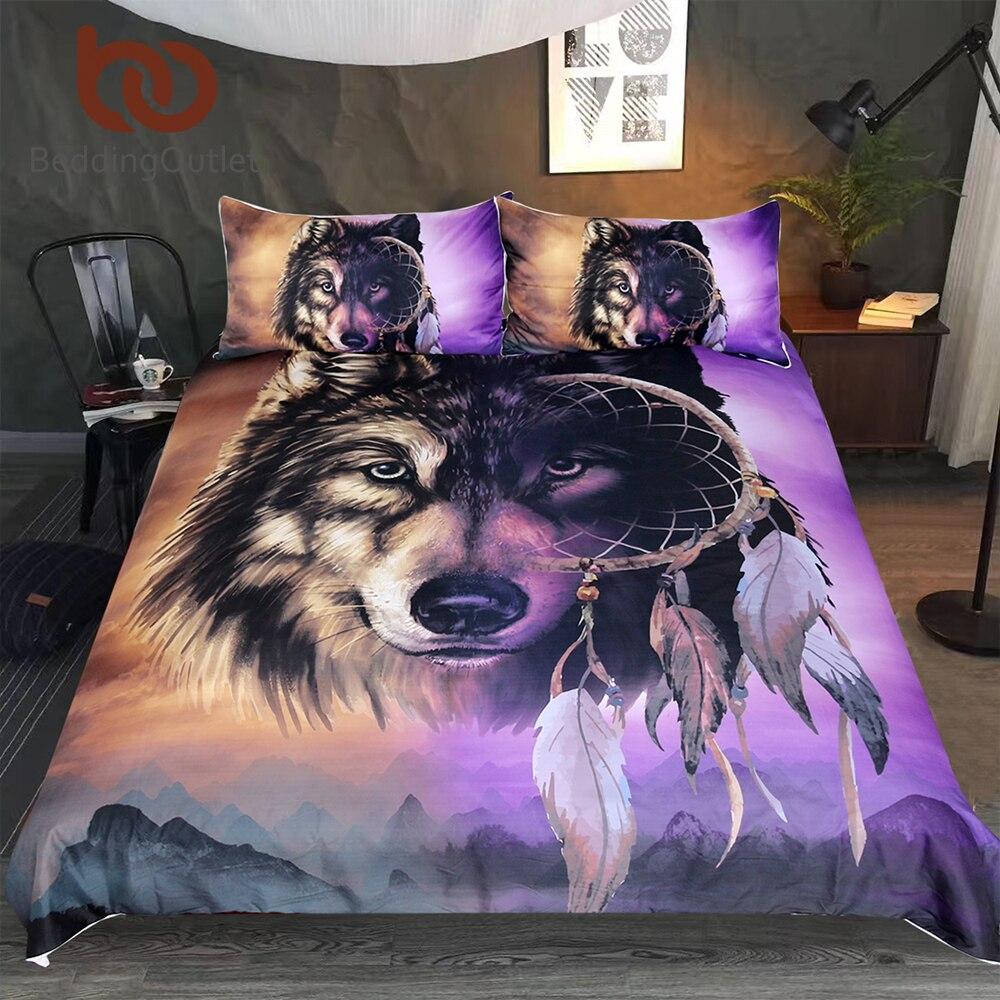 BeddingOutlet Wolf Bedding Set Dreamcatcher Lion Duvet Cover 3D Mountain Scenery Home Textiles Purple Brown Bedclothes Drop Ship