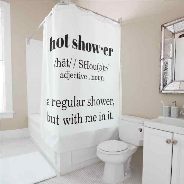 funny hot shower definition shower curtain set joke nerdy white bathroom curtain waterproof polyester printed bathroom decor