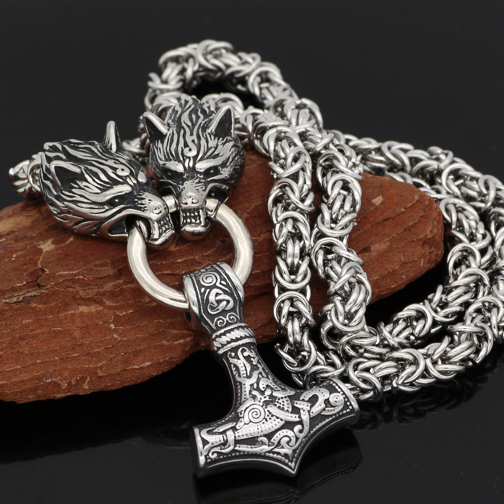 Men stainless steel Wolf head norse viking amulet thor hammer  pendant necklace handmade chain-in Pendant Necklaces from Jewelry & Accessories