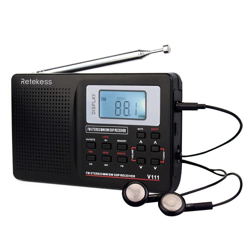 2pcs RETEKESS V111 Portable FM Radio DSP FM Stereo/MW/SW/LW Portable Radio Full Band World Receiver Clock 9KHZ/10KHz Radio FM hx2031 radio fm radio fm radio diy micro chip kit parts supply