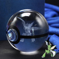 Pokemon Design Scyther Go Ball Good Quanlity K9 Crystal Pokemon Ball With Led Light Base For Gift