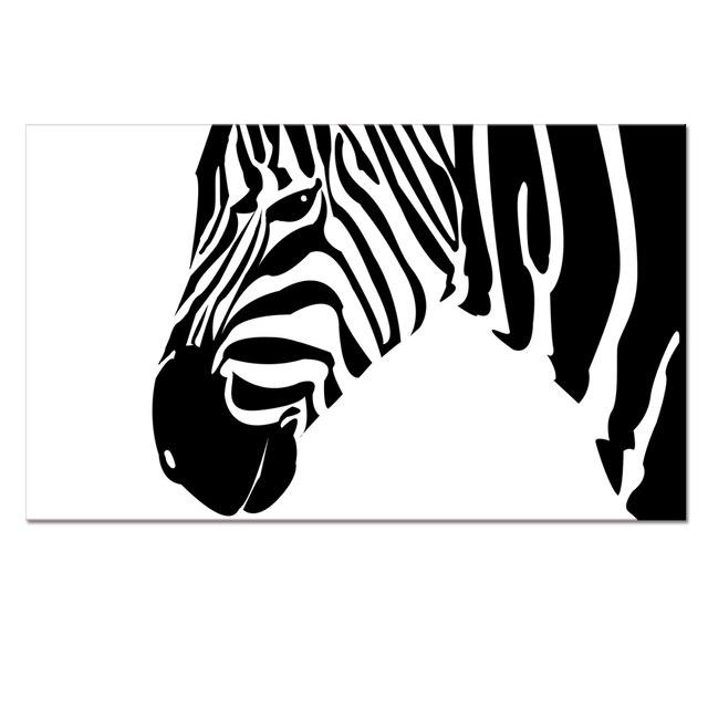 Visual art decor kontemporer kanvas cetakan gambar kanvas karya seni hitam dan putih zebra hewan gambar
