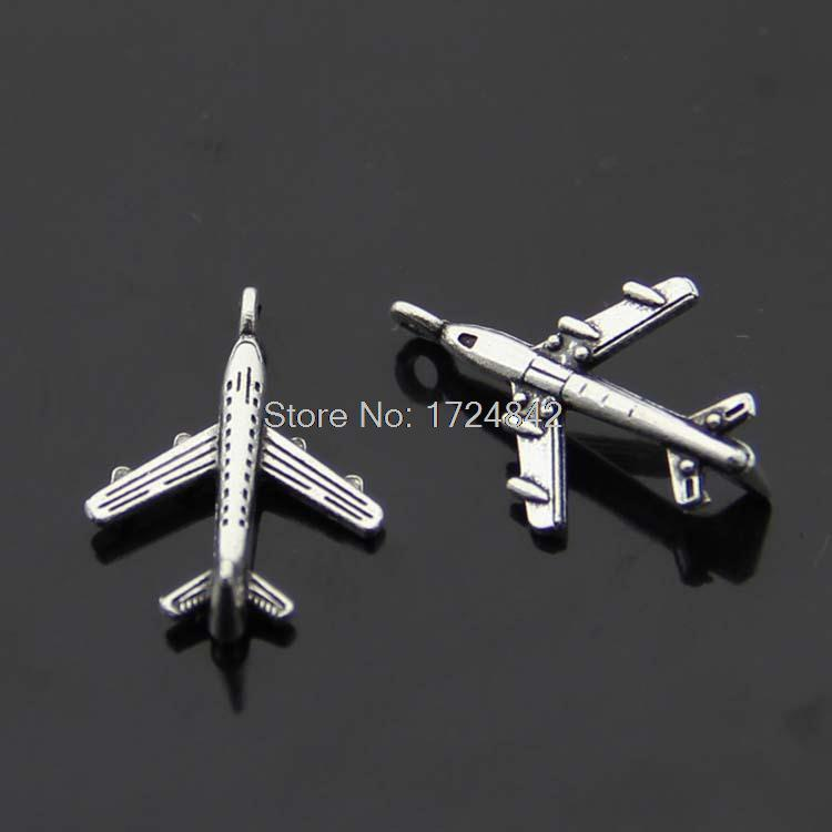 40pcs- Airplane Charms, Antique Tibetan silver Mini Aircraft plane charm pendants 22x15mm image