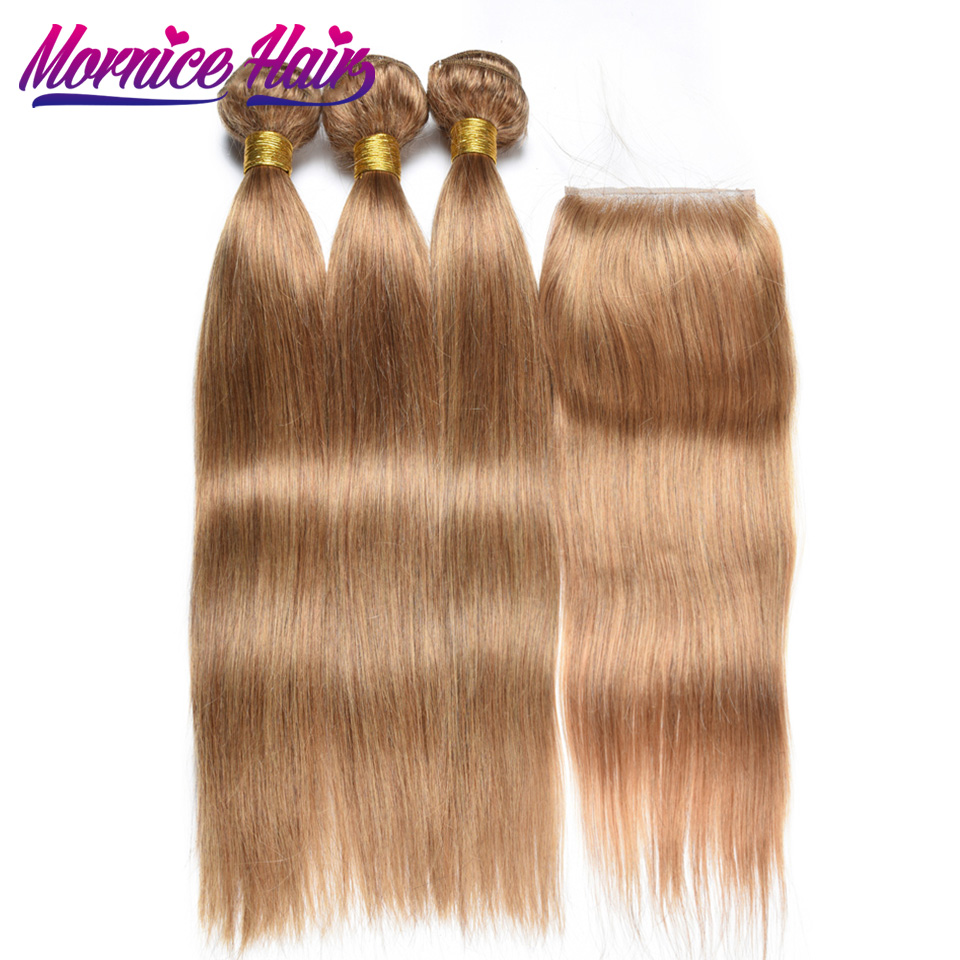 Mornice Малайзии прямые волосы Связки с закрытием #27 Блондинка non-реми ткань 100% человеческих волос пучки с закрытием свободная часть