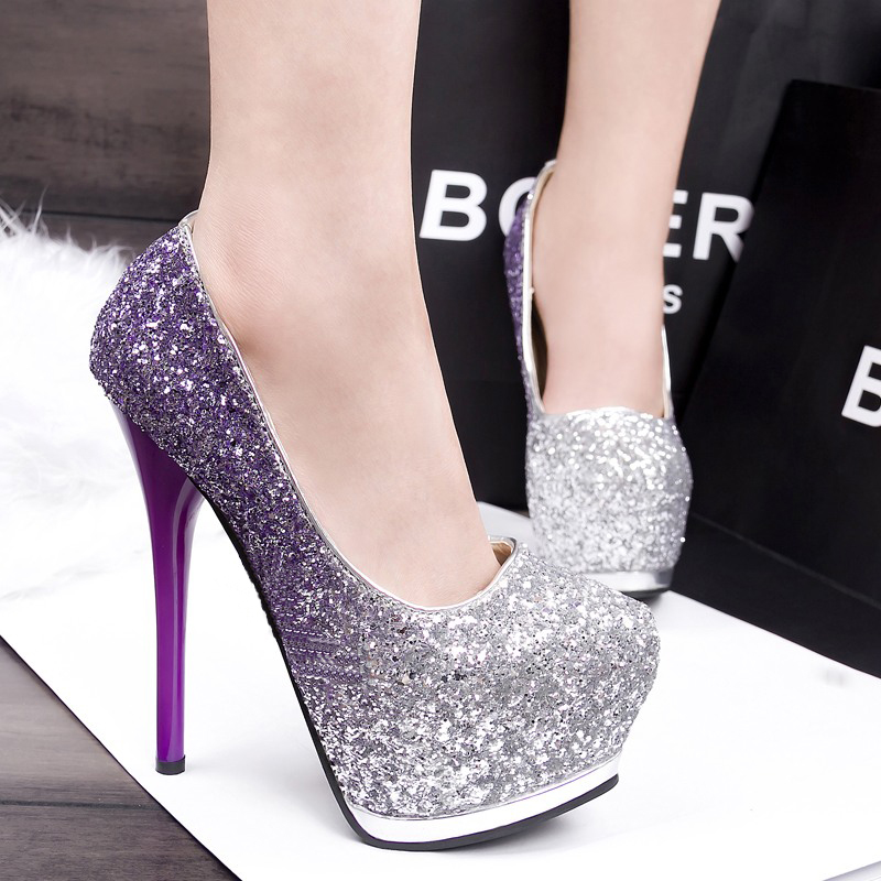 ФОТО  banquet women shoes ultra high heels round toe and slip-on design spring and autumn rhinestone decoration