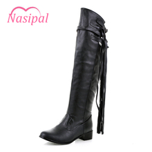 Nasipal New Fashion women boots Woman Shoes Fringe black white brown Low heel knee boots slip on autumn winter Woman boots C071