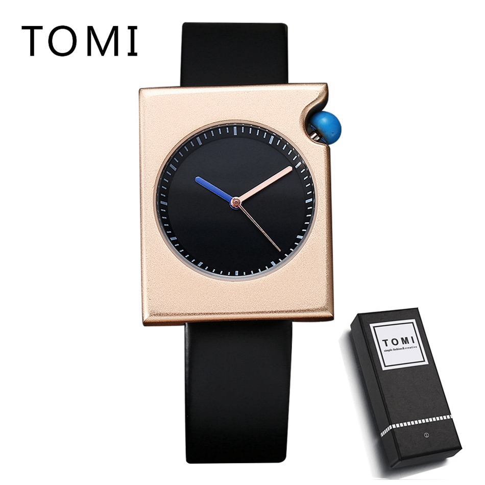TOMI Mens Watches Top Brand Luxury Rose Gold Square Men Sport Watch Leather WristWatches Waterproof Dress Watches Relogio T002 tomi luxury business watch mens fashion brand sport waterproof quartz wristwatches fashion luxury mens leather dress watches