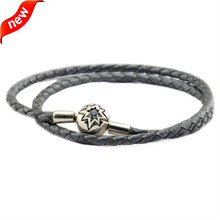Grey Leather Bracelets and Necklaces for Women Jewelry Making Fits European Beads 925 Sterling Silver Starry Sky Clasp Wholesale dark blue leather bracelets and necklaces for women jewelry making fits european bead charm 925 sterling silver starry sky clasp
