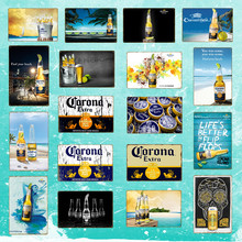 Póster Corona Extra Beer, carteles de metal Retro, pegatinas de pared para Bar, Pub, café, decoración, placa artística, decoración Vintage para el hogar YD050(China)