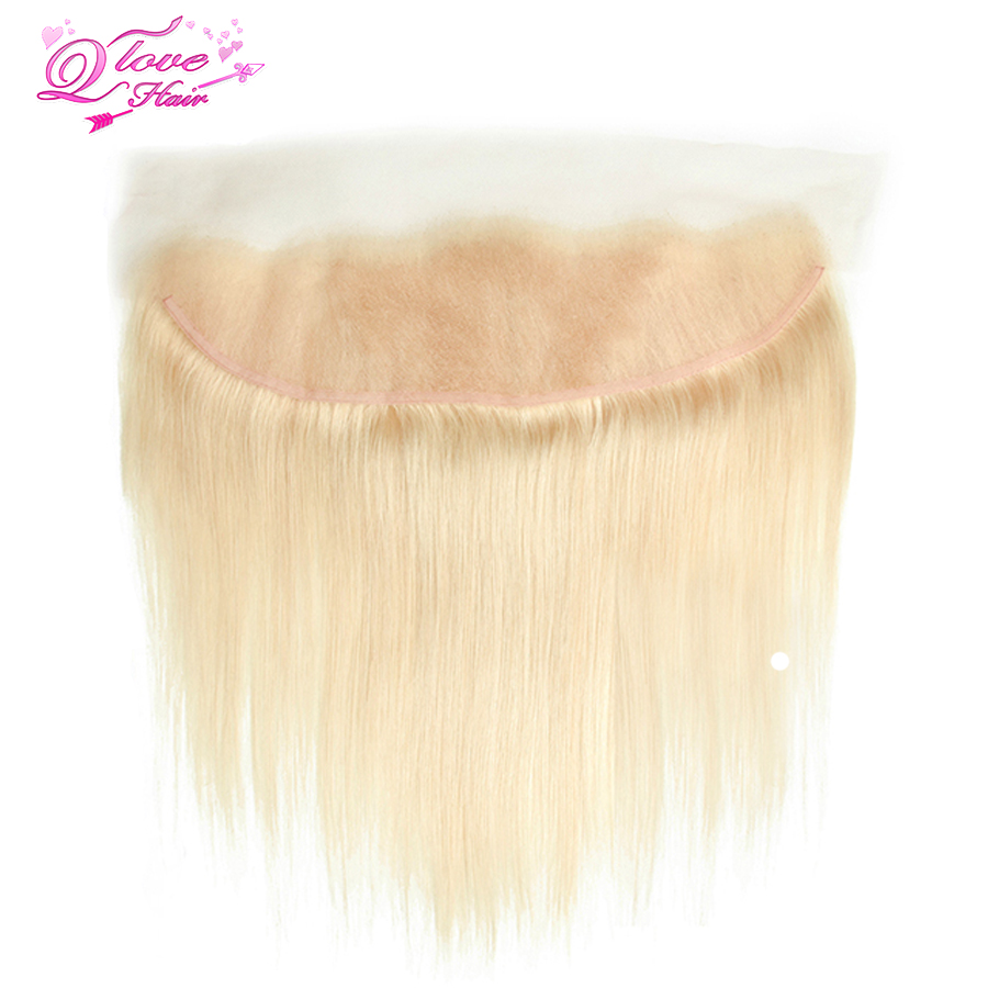 Queen Love Hair Brazilian Hair Straight Wave Blonde Color Ear To Ear Lace Frontal Remy Human Hair 613 Frontal 13x4 Closure