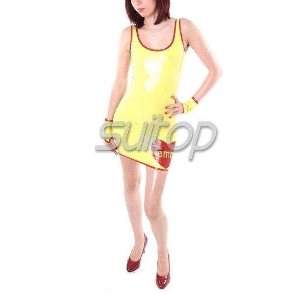 Suitop Latex jurk tank jurk geel kleur - 2