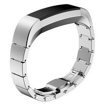 Haute Qulity Magnifique De Luxe En Acier Inoxydable Bracelets Noir et Argent Poignet Montres Bracelet Pour Fitbit Alta Smart Watch Correa Reloj