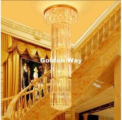 Nowo nowoczesne D600mm H2000mm złoty żyrandol z kryształkami lampa E14 LED Hotel żyrandol AC 100% gwarantowana darmowa wysyłka