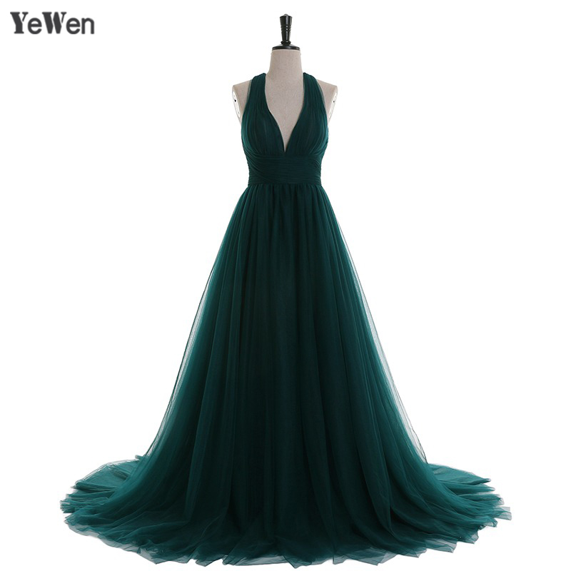 Formal   Evening     Dresses   Dark green Elegant Blackless Deep V neck Long 2017 Party Elegant Prom Gown Woman   Evening     Dresses