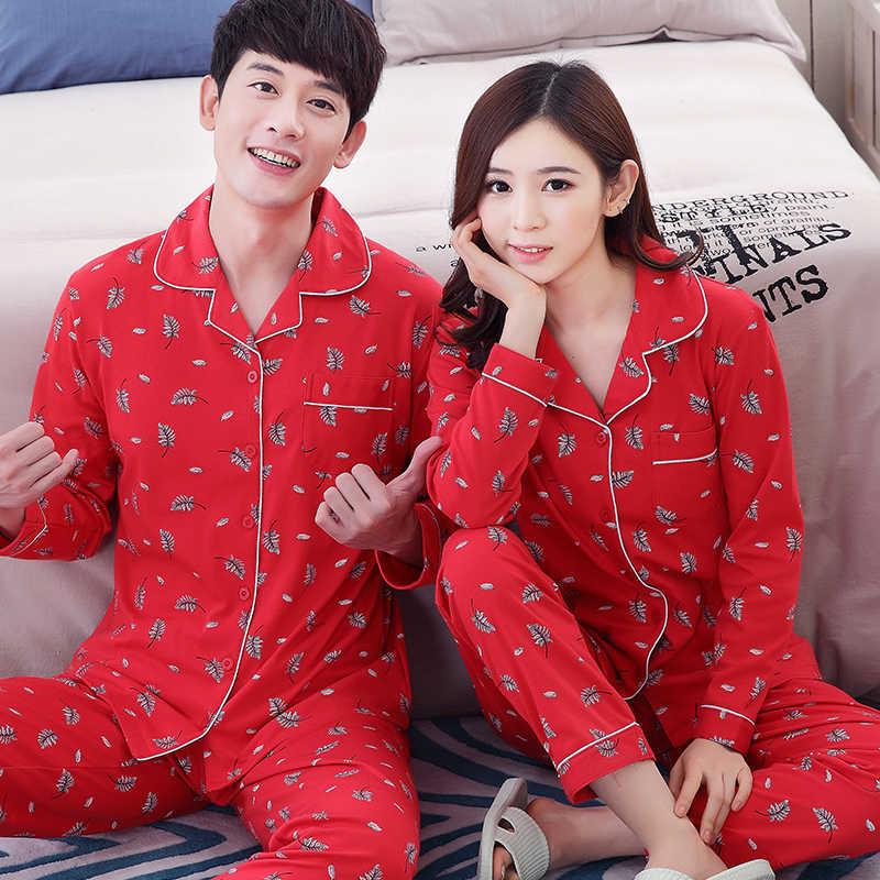 Пара Пижама из 100% хлопка красные пижамы Весна и осень обувь для мужчин и  женщин c32d31f0bf16b