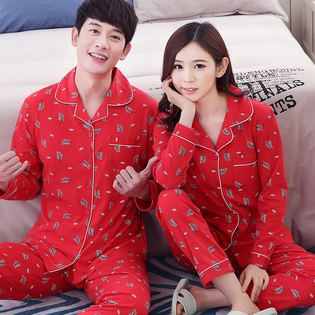 3c6763b331 Couple pajamas set 100% cotton pajamas red pajamas spring and autumn men  and women long sleeve sleepwear lover night suits