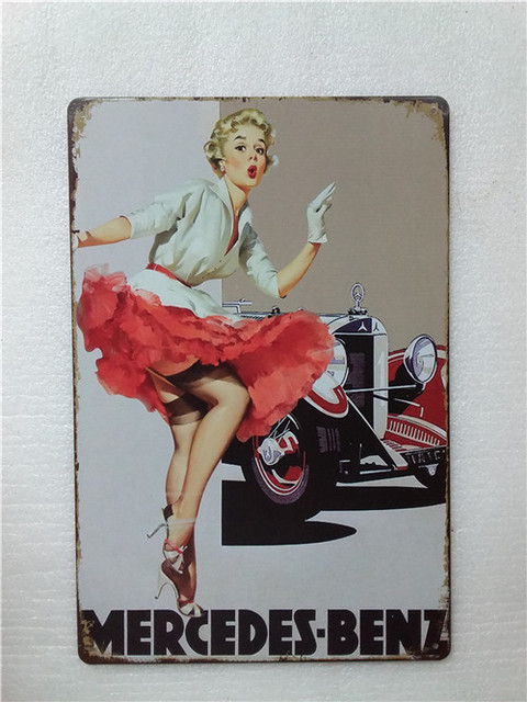 Garage Pinup Girl Metal Tin Sign Posters Retro Vintage Wall