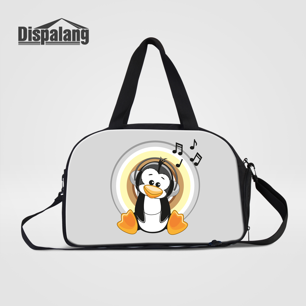 Dispalang Cartoon Animal Womens Travel Bag Musical Note Multifunctional Duffle Bags With Shoes Pocket Girls Stylish Weekend Bag