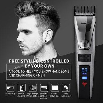 Riwa профессиональный триммер для волос Машинка для стрижки электрическая стрижка машинка для стрижки ЖК-дисплей моющаяся 3-22 мм расческа пар...
