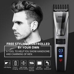 Riwa Clipper Aparador de Cabelo Profissional Máquina de Corte de corte de cabelo Elétrica display LCD Lavável 42 3-22mm pente Cabeleireiro