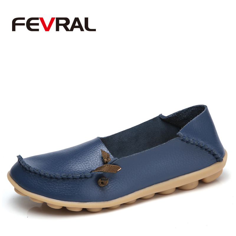 FEVRAL New Women Real Leather Shoes Moccasins Mother Loafers Soft Leisure Flats Female Casual Footwear Size 34-44 In 20 Colors cyabmoz 2017 flats new arrival brand casual shoes men genuine leather loafers shoes comfortable handmade moccasins shoes oxfords