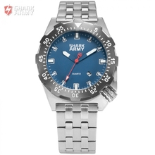 SHARK ARMY Mens Blue Auto Date Luminous 10ATM Waterproof Quartz Military Sports Full Steel Band Wrist Watch + Gift Box / SAW188
