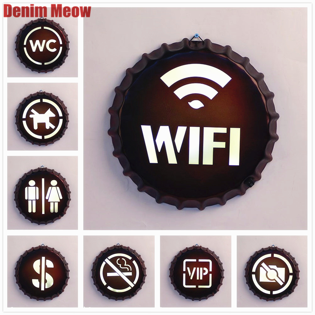 WIFI Vintage LED Neon Light Bottle Cap Advertising Sign for Home BAR Pub Restaurant Cafe Wall Decoration Gift Shop Billboard