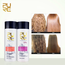 PURC Brazilian 12% Formalin Keratin Straightening Treatment 100ml And 100ml Urifying Shampoo Repair Damaged Hair Cabello Cuidado