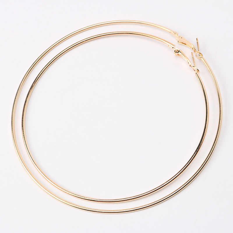 Большой Размеры 90/100mm Хооп Серьги для Для женщин Classice круглый цвет серебристый, золотой круг Для женщин Jewelry аксессуары Punk Pendientes