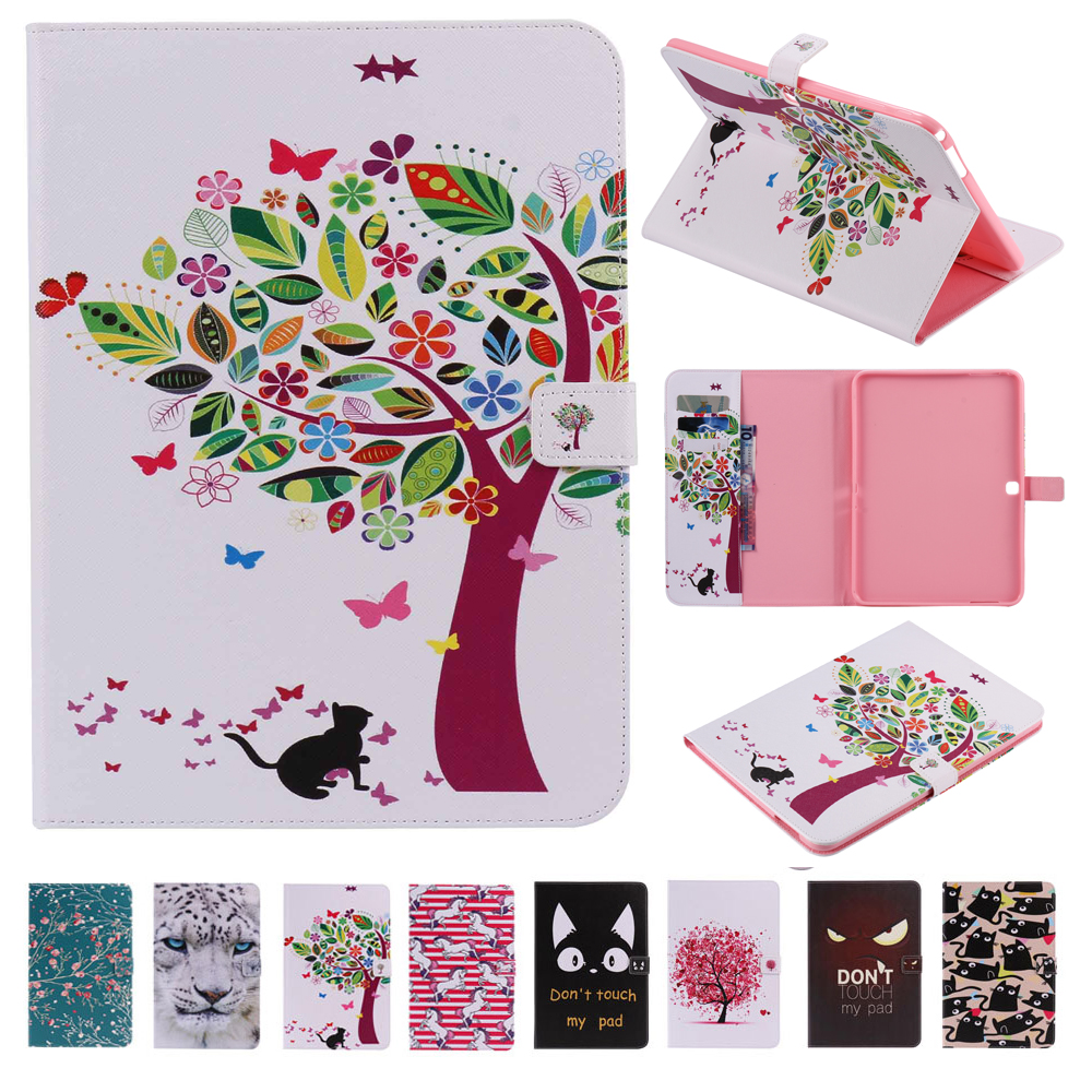 For Coque Samsung Galaxy Tab 4 10.1 T530 T535 Cover Case Sleep Wake Up Function Printing Folio PU Leather Stand Wallet Cases