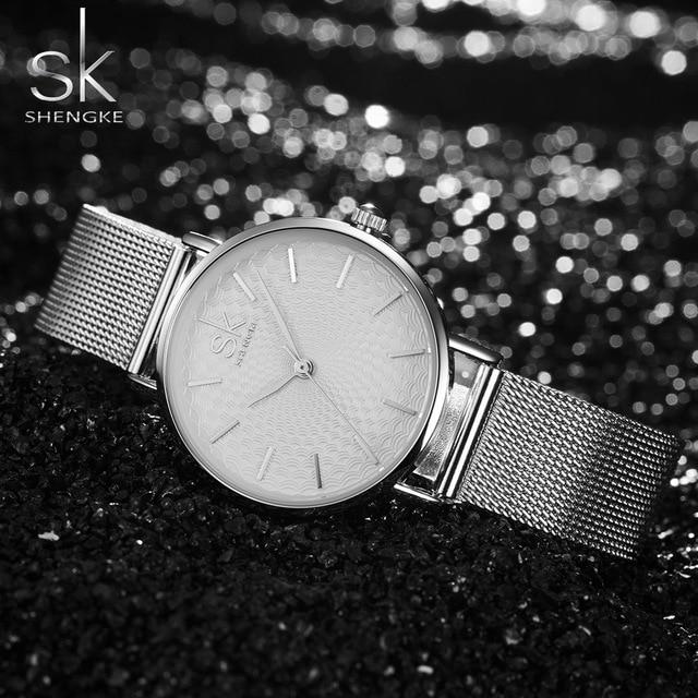 SK Super Mince Argent Maille En Acier Inoxydable Montres Femmes Top Marque De Luxe Casual Horloge Dames Montre-Bracelet Dame Relogio Feminino 2