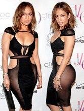 High Quality Sexy Club font b Dress b font Mesh Patchwork Black Bandage Bodycon font b
