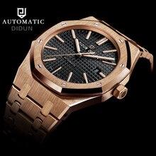 DIDUN Top Brand Luxury Automatic Mechanical Watch Men Military Stainless Steel Wristwatch Rose Gold watches clock men waterproof