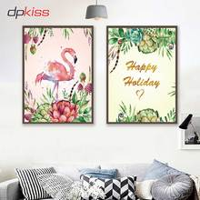 hot deal buy dpkiss canvas painting nordic flamingo art poster wall art bedroom home decor canvas painting for home decor picture