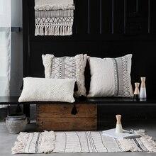 Поясничного Подушки детские черный белый Марокко дизайн Nordic назад диван-кровать Подушки Полосатый плед геометрический Пледы Подушки Детские французский шик
