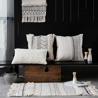 Lumbar Pillow black white Morocco design Nordic back sofa bed Cushion striped plaid geometric Throw Pillow French chic